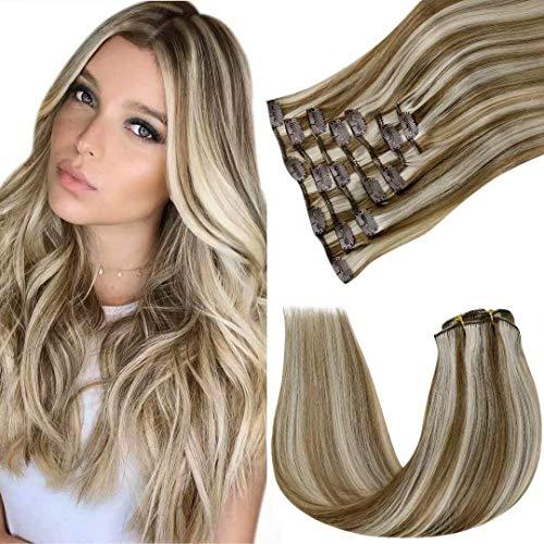LaaVoo Highlight Brun Cheveux Naturel Clip - Extension Cheveux Clip Naturelle Brun Clair Mixte Blond Platine Highlight Extension Clip Cheveux Humain Double Trame Hair Extension 7Pcs/120G 22Pouce