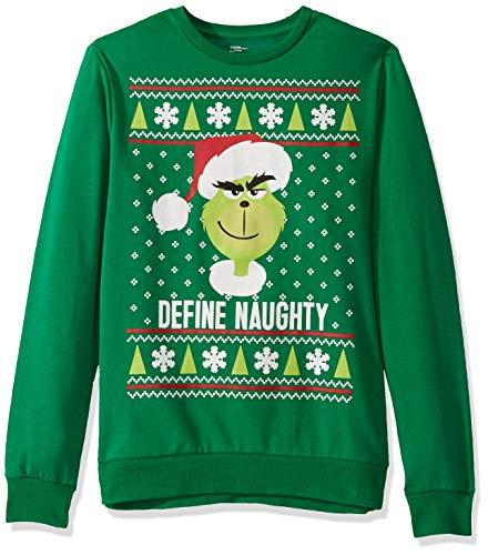 Universal Men's Ugly Christmas Crew Sweatshirt, Naughty/Green, Large