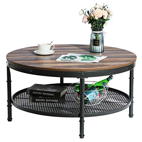 GreenForest Coffee Table Round 35.8' Industrial 2-Tier Sofa Table with Storage...