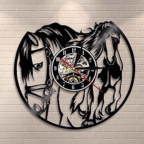 Nzlazbc Caballo galopante CD Reloj de Pared con Disco de Vinilo Mustang Caballo Salvaje en el Viento Reloj de Caballo Relojes Colgantes Decoración Regalo de Jinete