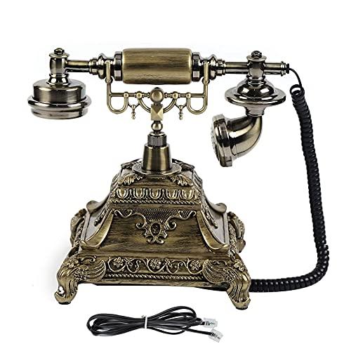 HRNAKDFKL Teléfono retro, teléfono antiguo europeo vintage, teléfono analógico con cable, diseño vintage con dial y timbre para estrellas, hotel, oficina, decoración de casa