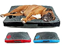 Double sided waterproof pet cushion with carry handle and paw print motif. Zip fastening with removable cushion. Washable cover. Three assorted colours: grey with blue, red and black, randomly sent. Approximate measurements: 85cm x 55cm x 8cm.