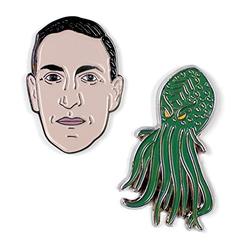 H. P. Lovecraft en Cthulhu Emaille Pin Set - 2 unieke gekleurde metalen reversspeldjes