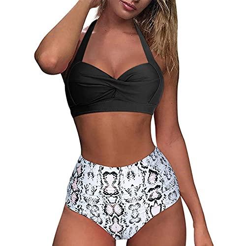 Bikini de dos piezas con estampado de bikinis para mujer, Blanco, X-Large