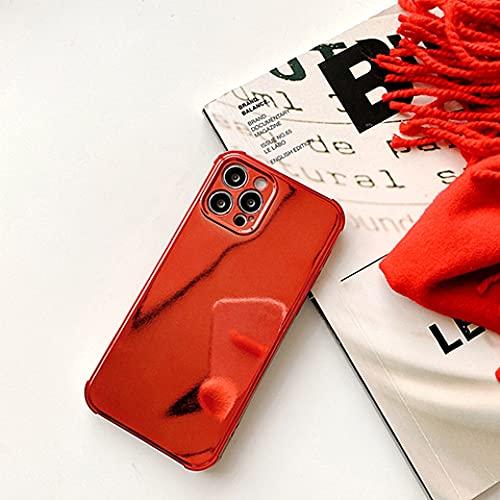 Estuche de teléfono de Lujo Chapado en Oro galvanizado para iPhone 12 Pro MAX 11Pro X XR XS MAX 8 7Plus Glitter Mirror Flip Soft Cover Coque, Rojo, para iPhone 12Pro (12)