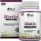 Biotin hochdosiert 10.000 mcg - für Haar-Wachstum, kräftige Nägel & gesunde Haut - volle Jahresversorgung - 365 Tabletten - Nahrungsergänzungsmittel von Nu U Nutrition