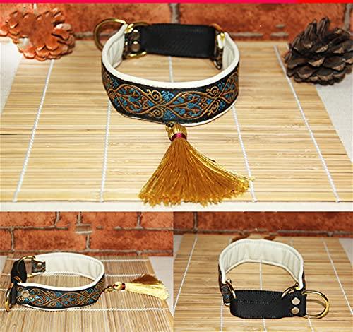 PPuujia Collar étnico de piel de oveja para perro, collar adecuado para galgos italianos, galgos, cachorros, perros grandes (color: 6, tamaño: M)