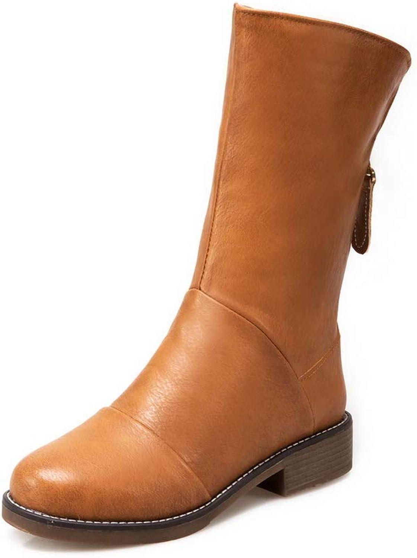 BalaMasa Womens Square Heels Zipper Urethane Boots ABL11244