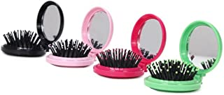 LOUISE MAELYS 4pcs Round Folding Pocket Hair Brush Mini Hair Comb with Makeup Mirror for Travel Candy Color