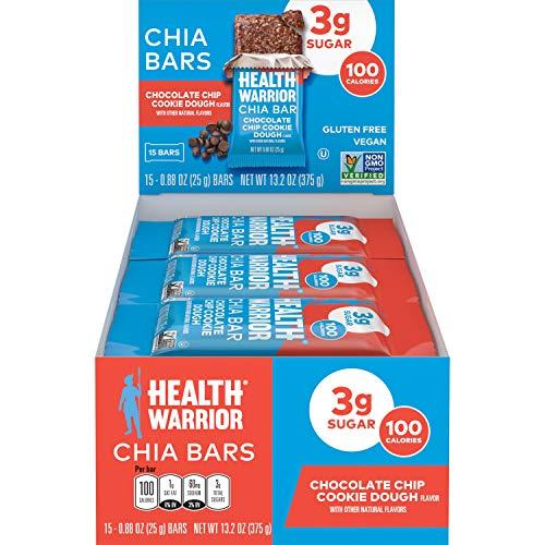 HEALTH WARRIOR Chia Bars, Chocolate Chip Cookie Dough, Gluten Free, Vegan, 3g sugar, 25g bars, 15 Count