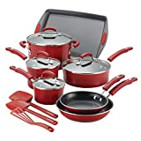 Rachael Ray Brights Nonstick Cookware Pots and Pans Set, 14 Piece, Red Gradient