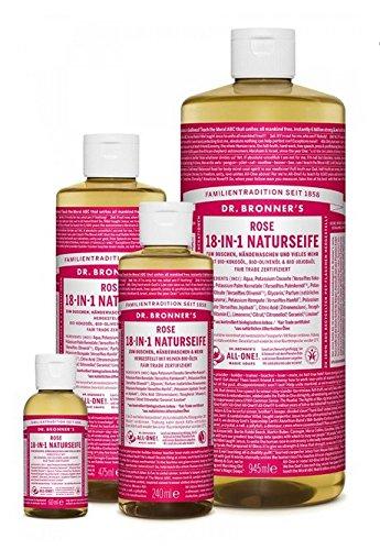 Dr. Bronner´s Naturseife Rose 18-in-1 Magic Soap natürliche Flüssigseife aus biologischem Anbau, vegan, keine Zusatzstoffe, Fair Trade zertifizierte Bioseife (1x240ml)