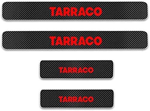 HAOHAO Anti-Kratz-Platte für Autoschwelle für Passend für 4 Stück Externe Carbon-Faser-Leder-Auto Kick-Platten Pedal for Seat Exeo TARRACO, Einstieg Willkommen Pedal-Tritt Scuff Threshold Bar Pr.