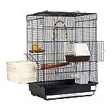 Chenhan Gabbia per Uccelli Gabbia per Uccelli per Uccelli Esotici e Canarini Top Grande Gabbia per Uccelli in Metallo con Oscillazione e Uccello Nido Nero 43x30.5x57cm Leggero Traspirante