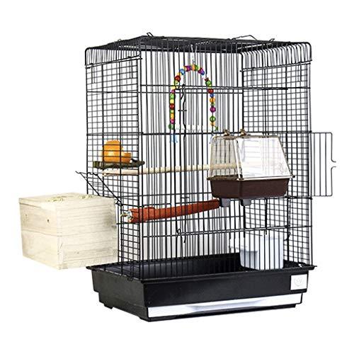 YINGZI Birdscage Gabbia per Uccelli per Uccelli Esotici e Canarini Top Grande Gabbia per Uccelli in Metallo con Oscillazione e Uccello Nido Nero 43x30.5x57cm Crea e Decora