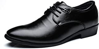 Elegdy Men`s Business Casual Oxfords Block Heel Lace Up Leisure Shoes Dress Shoes