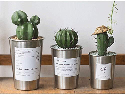 CHUTD Bol de Jardin Pot écologique Ensemble de 3 Pots en Plastique de Bureau Nordique de Style Nordique en Acier Inoxydable pour la décoration de la Maison Bol en Plastique pour Yamato (Couleur: C
