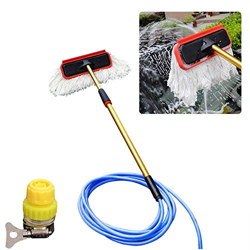 HFJKD Ausziehbare Waschbürste mit schnellem Wasserfluss, multifunktionaler Autowaschmopp, Fensterreiniger-Kit, 20 m Wasserleitung, für LKW-Wohnwagen