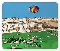 横長長方形マウスパッド、鮮やかな熱気球と空の旅行の落書きイラスト、滑り止めラバーバッキングマウスパッド、多色