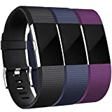 Maledan Bands Replacement Compatible with Fitbit Charge 2, 3-Pack, Large Black/Blue/Plum