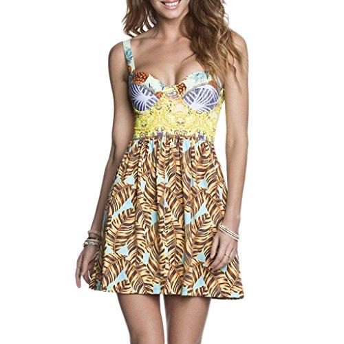WTL Badeanzug Mode Badeanzug Bikini Druck Blumen Kleid Rock Gitter Split Harness Badeanzug Spa Badeanzug Strand Badeanzug ( Farbe : Bunte , größe : M )