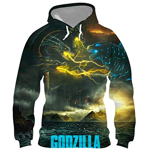 Godzilla King of The Monsters メンズ パーカー スウェット フード付き プルオーバー ミルクシルク 丸い襟 コート 長袖 ポケット有り 上着 春秋冬服 XXL