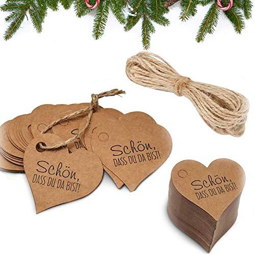 Geschenk Anhänger, Herz Geschenkanhänger, Etiketten Anhänger Hochzeit, Kraftpapier Vintage Herz Etiketten mit Jute Schnur 10M, für Weihnachten Geschenk Tags, Hochzeit, DIY Deko - 100 Stück