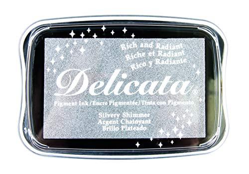 Rayher 29187606 Delicata Metallic Stempelkissen, glänzend, 9,9 x 6,8 x 1,9 cm, Pigmentkissen, Stempelfarbe, Tsukineko, silber