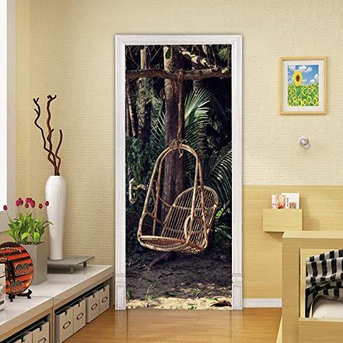 Muurstickers, 3D-etiket voor de deur, schommelstoel, PVC-kunststof, muurstickers, zelfklevend, afneembaar, waterdicht, decoratie voor huis, deur, 77 x 200 cm