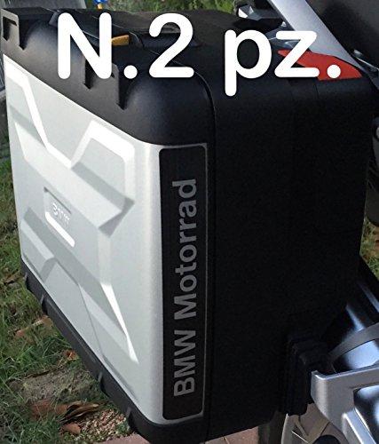 N.2 pz. RIFRANGENTI REFLECTIVE MOTORRAD R1200 R1250 STICKERS ADESIVI NERO BLACK VARIO BAGS