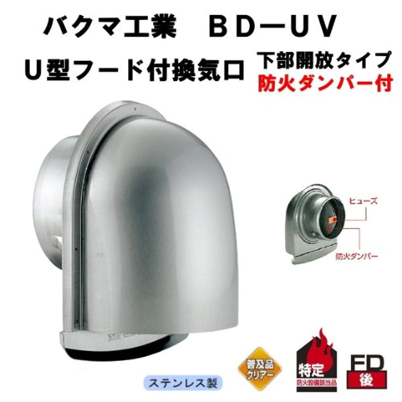 認識保持するプーノバクマ工業 BD-150UV U型フード付換気口  ガラリ 防火ダンパー付 72度  下部開放タイプ 150mm用