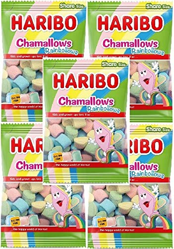 HARIBO BUSTA 875GR RAINBOLLOWS 5x 175GR marshmallow bbq arcobaleno multicolor 5 buste da 175gr
