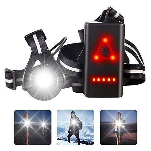 HOPLAZA Lauflicht, 90 ° Verstellbarer Strahl LED, Wiederaufladbare USB LED Lauflampe, 500 Lumen, Wasserdicht Brustleuchte für Läufer, Jogger, Laufen, Wandern, Camping, Klettern (Black)