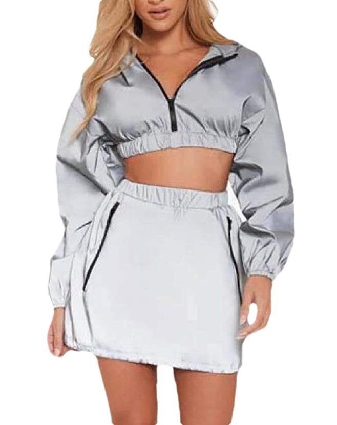 フォアマン押す簿記係Women 2 Piece Tracksuit Skirt Set Hoodie Crop Tops Mini Skirts Sports Outfit