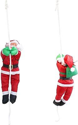 LD decorativa navideña Papá Noel AM cuerda 40 cm Navidad decoración figura de Navidad Papá Noel Escalera: Amazon.es: Jardín