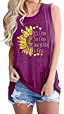 Women Sunflower Graphic Tank Tops Its Fine Im Fine Everythings Fine Tank Top Funny Letter Print Sleeveless Shirts Athletic Holiday Tank Tops, Purple L