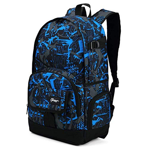 Cool Backpack for Teen Boys & Girls, Ricky-H Blue/Black Men & Women's Graffiti Pattern Travel Bag, College Students Bookbag with Laptop compartment -Graffiti Blue