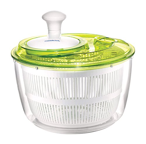 Sunkist 5-Quart Salad Spinner with Easy-Turn Knob, Green/Clear (SAP3915)
