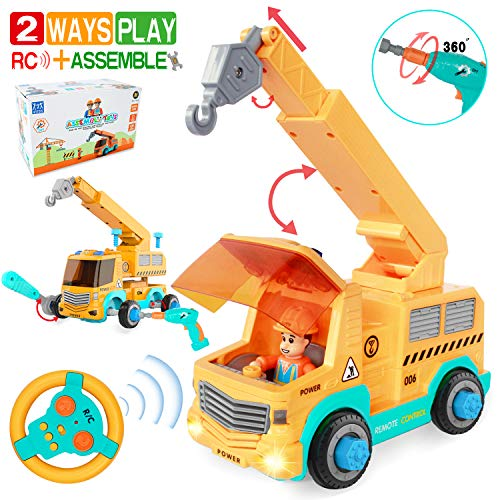 HISTOYE <2 Ways Play> Remote Control Car for Boys 3-5 Crane Truck for Toddlers Take Apart Toys With Electric Drill Stem Toy Build Your Own Rc Truck Toy for 3 4 5 6 7 8 9 Year Old Boys Assembly Vehicle