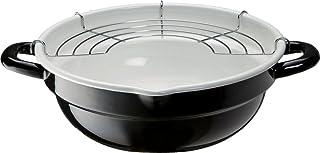 高木金属 天ぷら鍋 ホーロー 24cm ブラック ホワイト TP-24R-BW