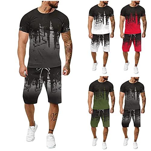 2021 Nouveau Survêtement Homme Ensemble Jogging Hommes Marque 2 pièces Pas Cher T-Shirt Sport - Short Tee Shirt Homme Manche Courte Top et Pantalon Sportwear Vêtements De Sport pour Jogging/Fitness