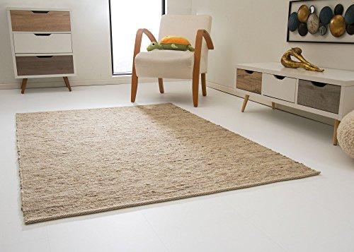 Leutasch Handweb Teppich aus 100% Schurwolle - natur dunkel, Größe: 130x190 cm
