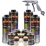 Custom Coat Federal Standard Color # 33446 Desert Tan T80 Urethane Spray-On Truck Bed Liner, 1 Gallon Kit with Spray Gun and Regulator - Durable Textured Protective Coating - Easy Mix Car Auto