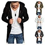 Men's Long Cardigans, Open Front Long Hoodies for Man, Zipper Closure, Lightweight,(Black,White,Grey, Army Green) (Gray, M)