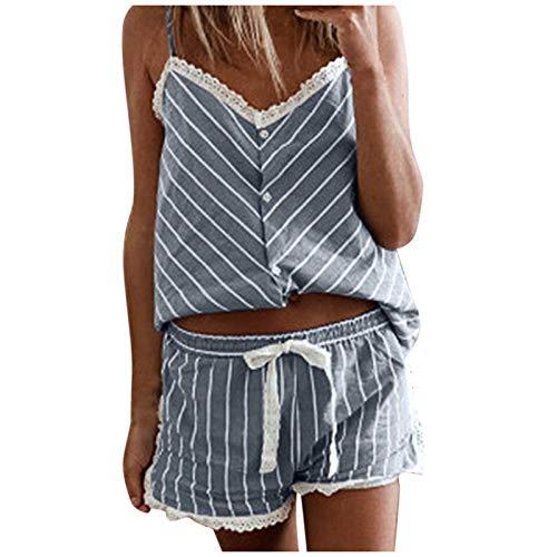 MRURIC Pyjama Set Kurz Damen Sommer Schlafanzug Sexy, Spitze Negligee Set Streifen Tank Top und Shorts Nachtwäsche Elegant Jumpsuit Mädchen Hausanzug Zweiteilige Sleepwear Set