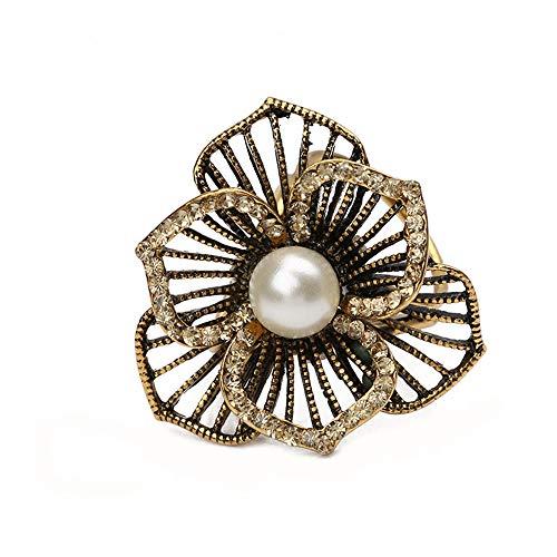 Ningz0l Broche borstkaart parel met diamant hol drie-bloesemblad bloemen drie-ring zijdehanddoek gesp damessieraden 4,0 * 4,0 cm goud