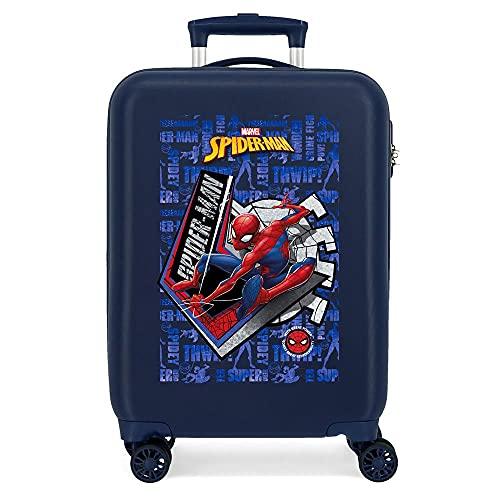 Marvel Spiderman Great Power Maleta de Cabina Azul 38x55x20 cms Rígida ABS Cierre de combinación Lateral 34 2 kgs 4 Ruedas Dobles Equipaje de Mano