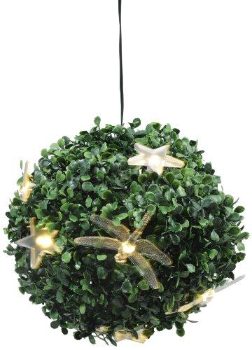 Kaemingk Buxkugel mit LED, aussen, Aussentrafo, 10 warmweiße LED, o 22 cm mit Sternenaufsätzen für den Winter und Libellenaufsätzen für den Sommer 495065