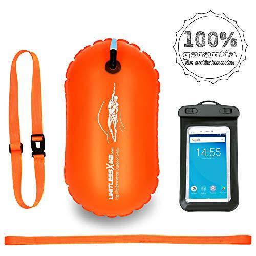 LimitlessXme Boya De Natación Naranja con Funda para Móvil. Visibilidad y Seguridad al Nadar en el mar y en el Lago. Swim Buoy Inflable para Aguas Abiertas…