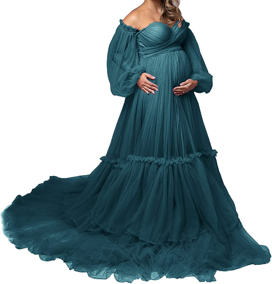 Tianzhihe Off Shoulder Sheer Maternity Tulle Robe for Photoshoot Bridal Dressing Gown Wedding Scraf Puffy Sleeve